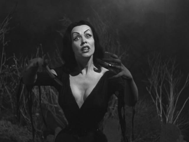 "L.A.'s own late night spook show host Vampira, aka Maila Nurmi, in a scene from ""Plan 9 from Outerspace."" Used under a Creative Commons license."