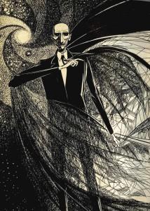 "Mr. Carapace Clavicle Moundshroud, as illustrated by Joseph Mugnaini for Ray Bradbury's 1972 printing of ""The Halloween Tree."""