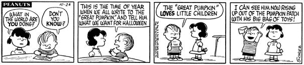 The earliest mention of the Great Pumpkin was in this Peanuts comic strip published on October 26, 1959.