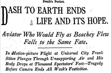 DASH TO EARTH ENDS LIFE AND ITS HOPE: Aviator Who Would Fly As Beachey Flew Falls To the Same Fate