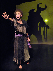 """Maya Eshet (left) and Steve Peterson (silhouette) tell the story of """"The Outsider"""" in LOVECRAFT: NIGHTMARE SUITE. (photo credit: Jeremy Andorfer)"""