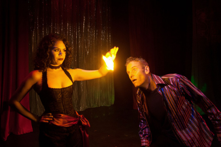 "Magician meets magic, embodied: Albie Selznick and Laura Stahl in ""Smoke and Mirrors."""