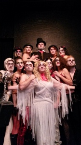 The cast of A Christmas Carol at Zombie Joe's Underground Theater.