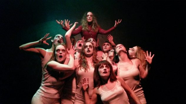 """The cast of """"Blood Alley,"""" playing in North Hollywood at Zombie Joe's Underground Theater."""