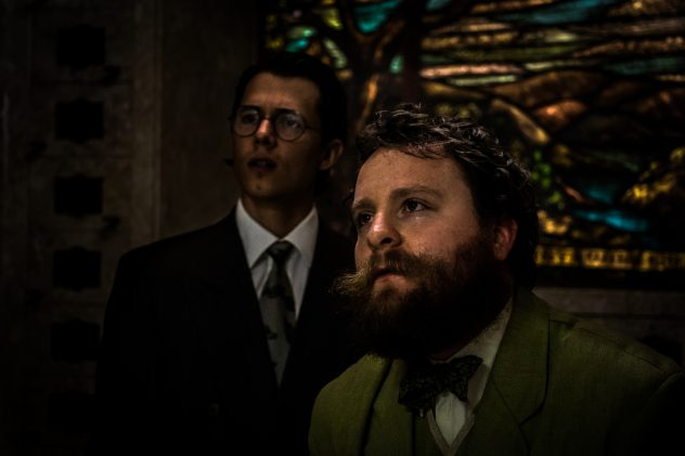 """Dusty Hess and Eric Keitel in Wicked Lit 2016's production of H.P. Lovecraft's """"From Beyond."""""""